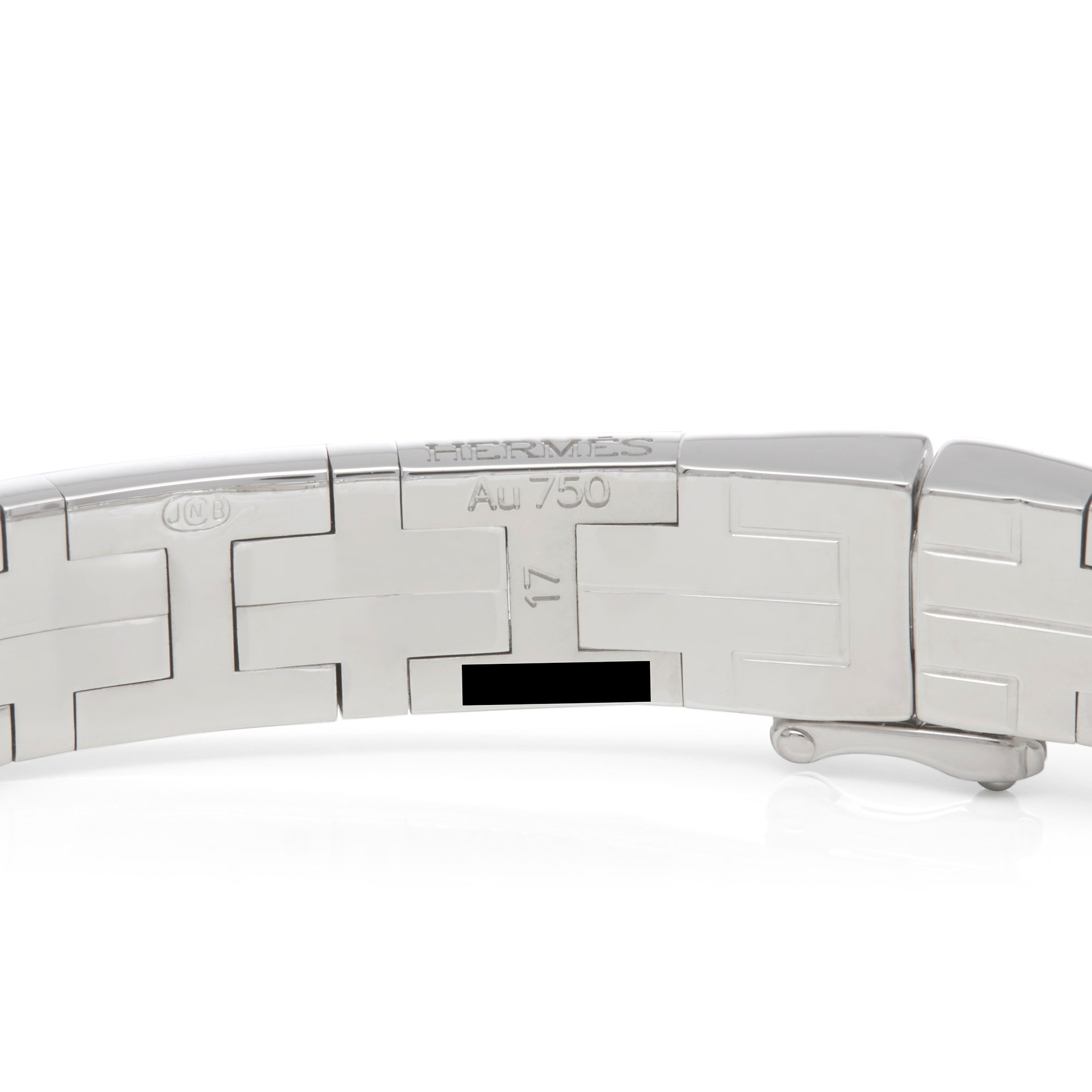 Hermès 18k White Gold Kilim Diamond Bracelet