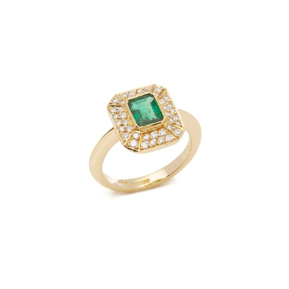 Diamond Ring 18ct Yellow Gold Emerald and Diamond Cluster Ring