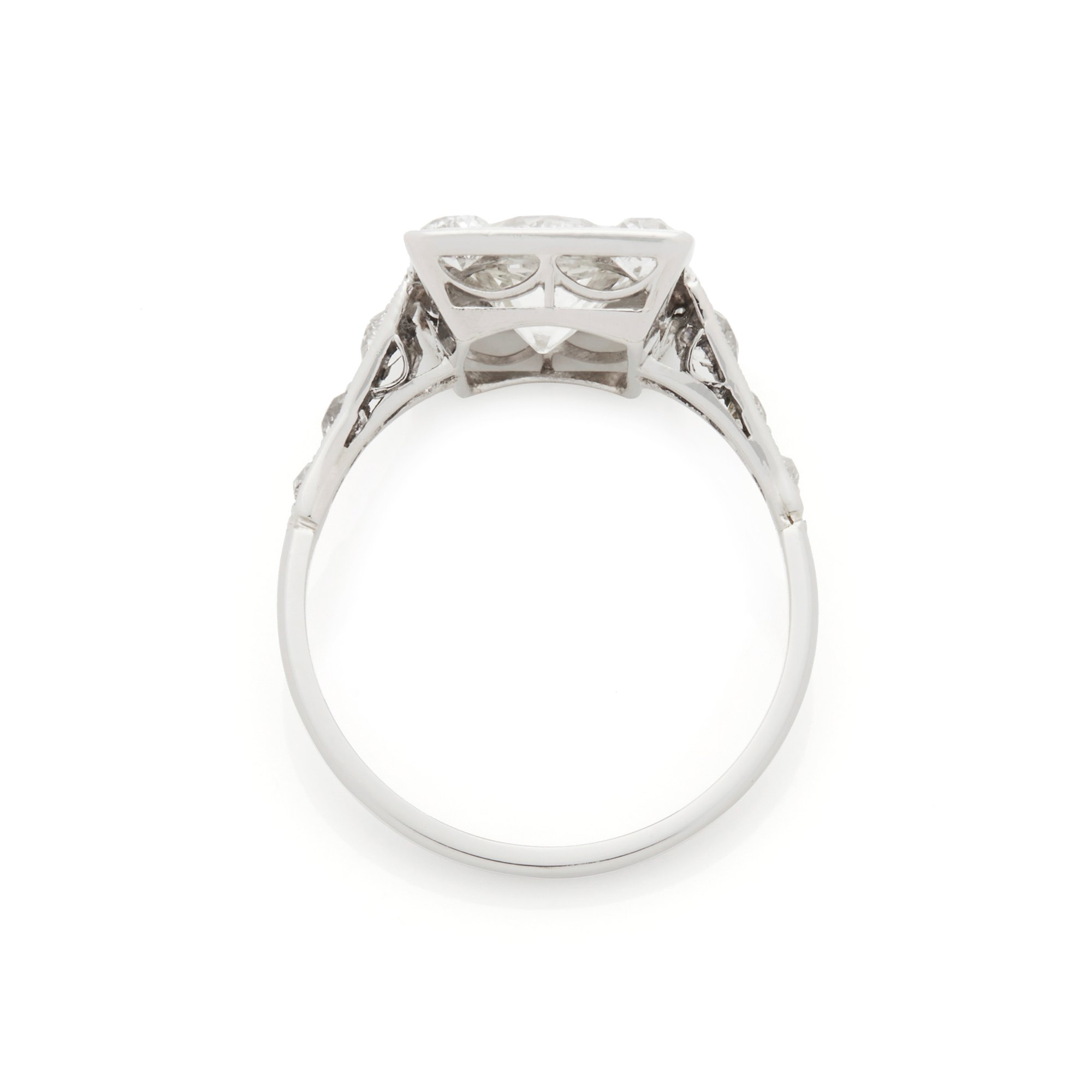 Diamond Platinum Vintage Old Cut Diamond Cluster Ring
