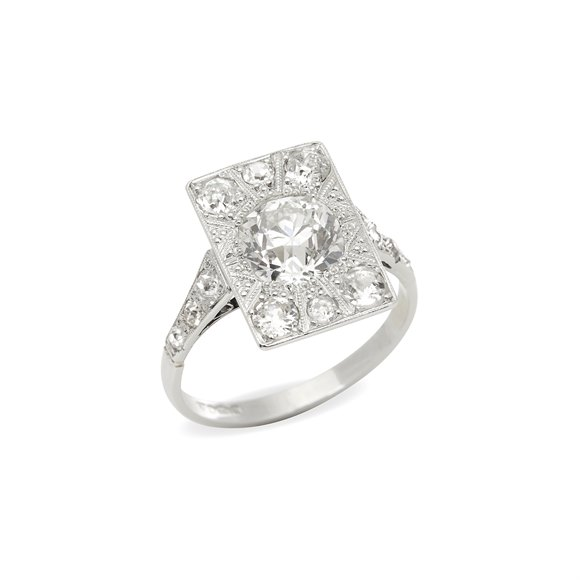 Platinum Vintage Old Cut Diamond Cluster Ring