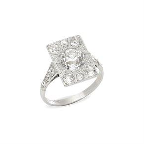 Platinum Vintage Old Cut Diamond Cluster Ring