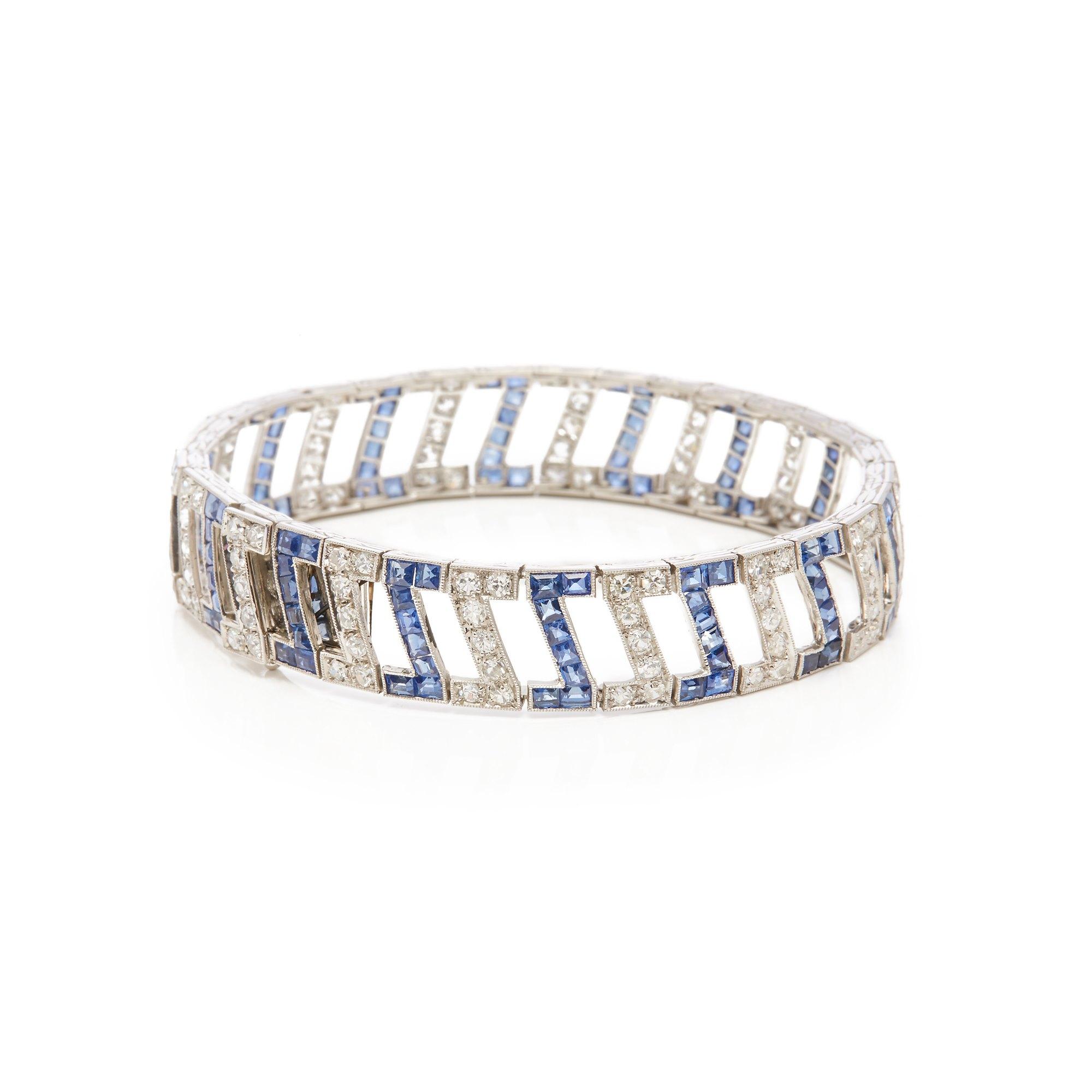 White Metal Sapphire and Diamond Bracelet