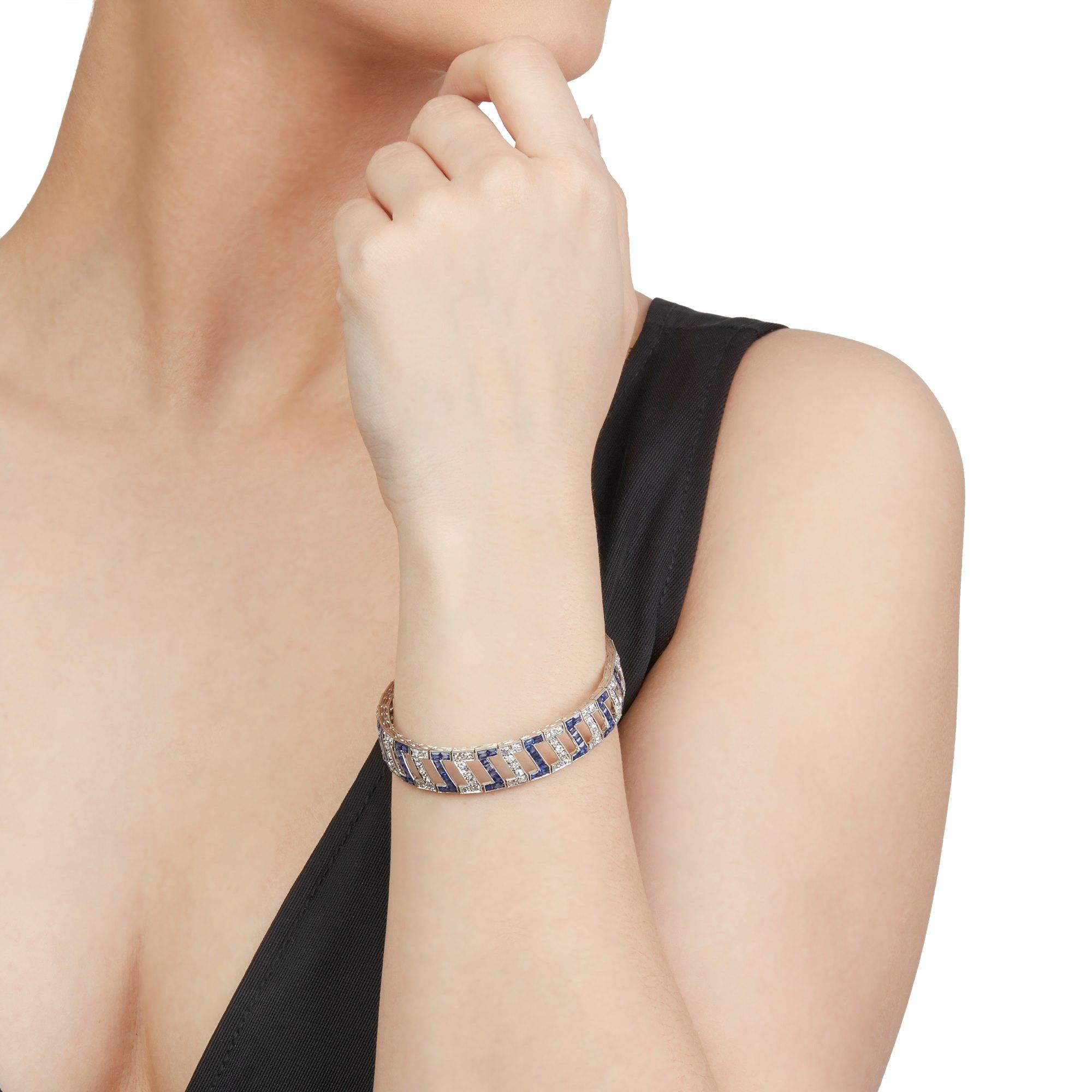 Diamond White Metal Sapphire and Diamond Bracelet