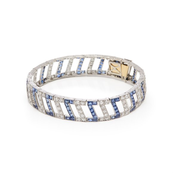 White Metal Sapphire and Diamond Bracelet