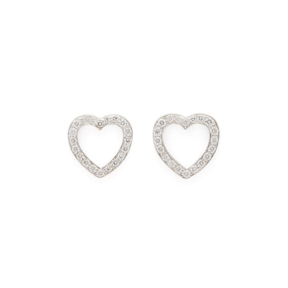 Tiffany & Co. 18ct White Gold Diamond Heart Earrings