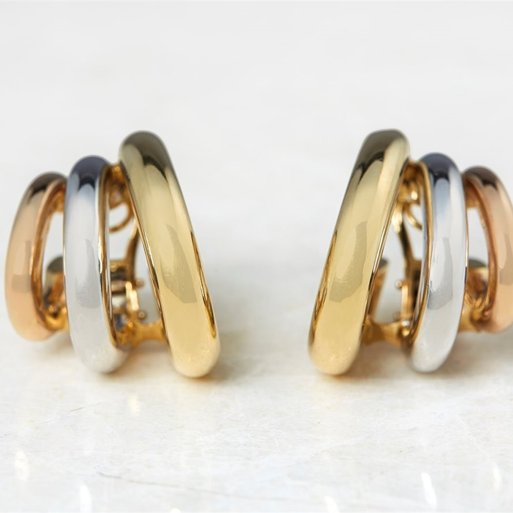 David Morris 18k Yellow, White & Rose Gold Clip On Hoop Earrings