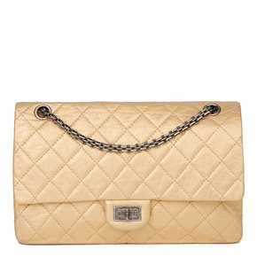 Chanel Gold Metallic Aged Calfskin Leather 2.55 Reissue 226 Double Flap Bag