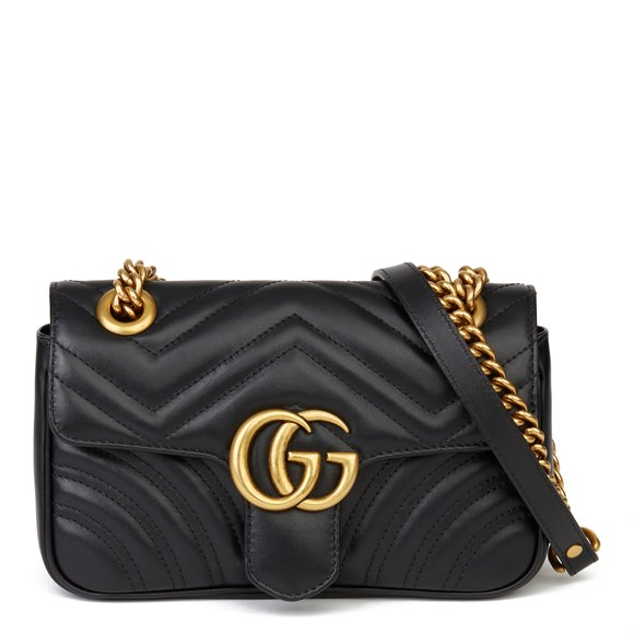 Gucci Black Quilted Calfskin Leather Mini Marmont