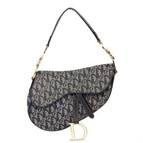 Christian Dior Blue Monogram Canvas Saddle Bag