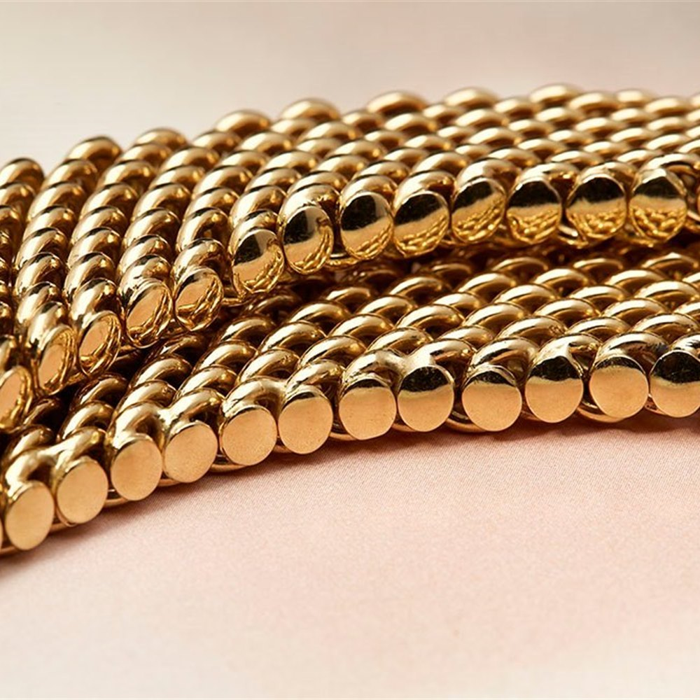 18K Yellow Gold 18k Yellow Gold Chain Link Choker Necklace