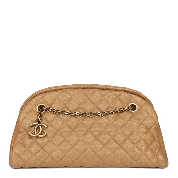 Chanel Gold Quilted Caviar Leather Just Mademoiselle Bowling Bag