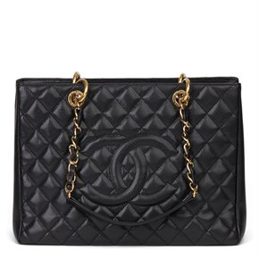 Chanel Black Quilted Caviar Leather Grand Shopping Tote GST