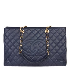 Chanel Navy Quilted Caviar Leather Grand Shopping Tote XL GST