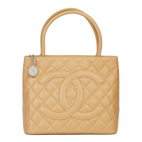 Chanel Dark Beige Caviar Leather Medallion Tote