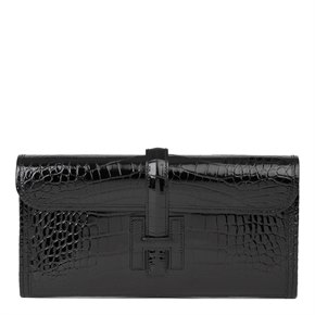 Hermès Black Shiny Mississippiensis Alligator Leather Jige 29