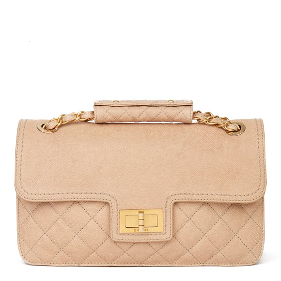 Chanel Beige Quilted Caviar Leather 2.55 Reissue Classic Single Flap Bag