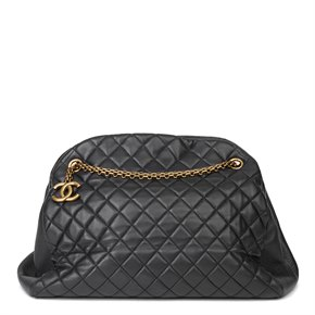 Chanel Black Quilted Lambskin Large Just Mademoiselle Bowling Bag
