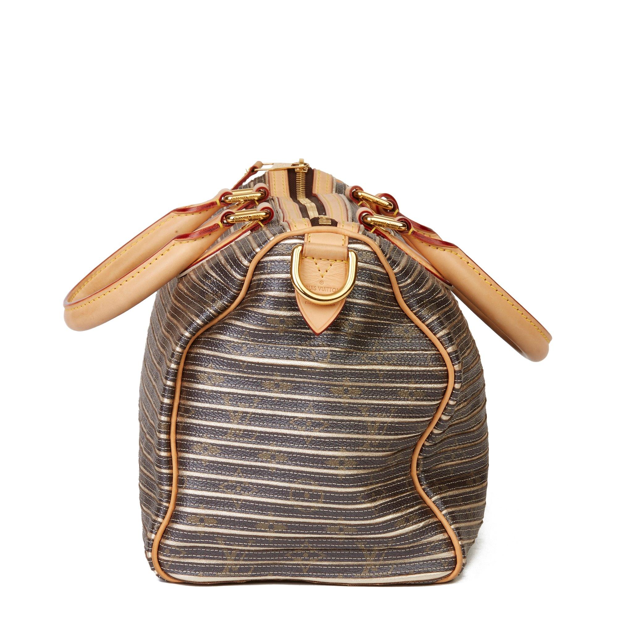 Louis Vuitton Brown Monogram Coated Canvas & Gold Metallic Lambskin Leather Argent Eden Speedy 30