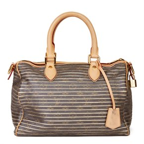 Louis Vuitton Brown Monogram Coated Canvas & Gold Metallic Lambskin Leather Argent Eden Speedy 30