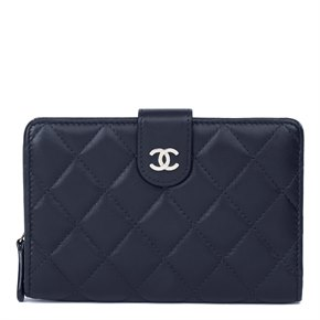 Chanel Navy Quilted Lambskin Zip Pocket Wallet