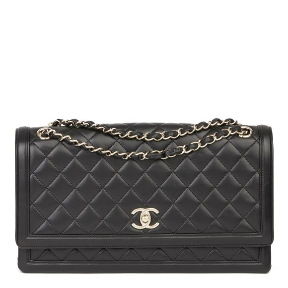 Chanel Black Quilted Lambskin Triple Gusset Classic Single Flap Bag