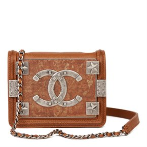 Chanel Brown Distressed Caviar Leather Paris Dallas Mini Brick Flap Bag