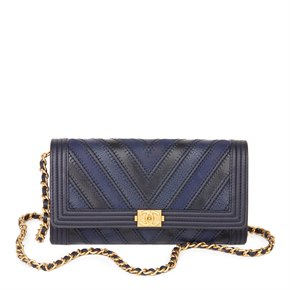Chanel Navy, Black Chevron Quilted, Calfskin, Lambskin & Caviar Leather Le Boy Wallet-on-Chain WOC