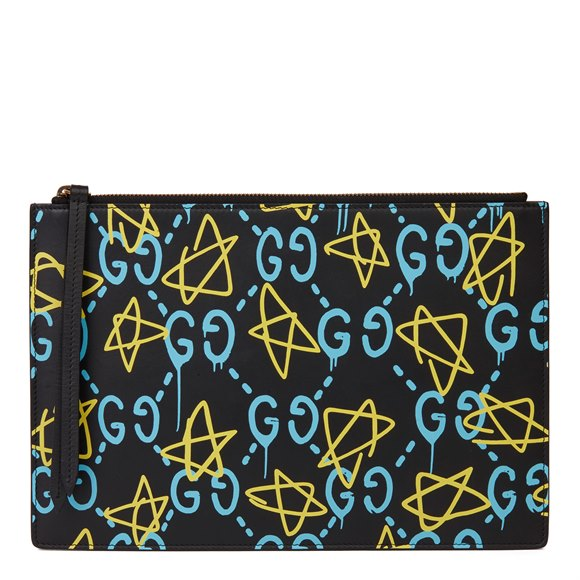 Gucci Black, Blue & Yellow Calfskin Leather Gucci-Ghost Pouch