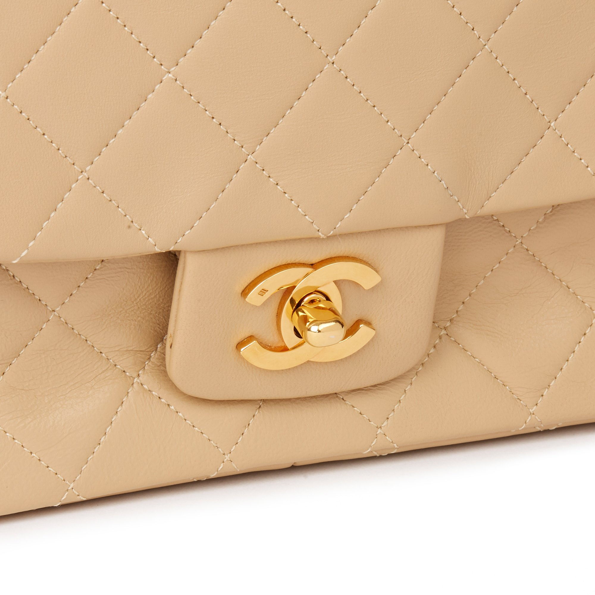 Chanel Beige Quilted Lambskin Vintage Classic Single Flap Bag with Wallet