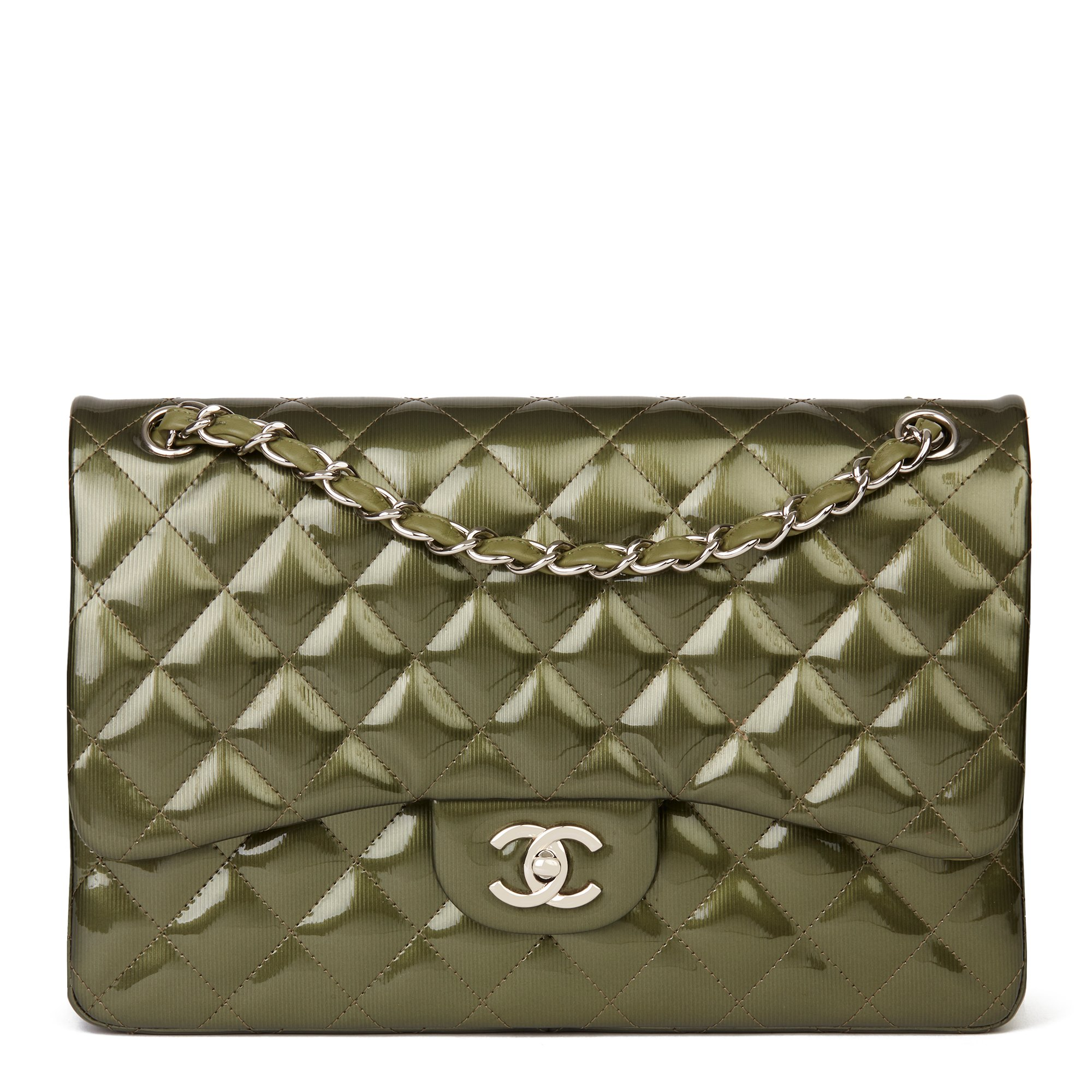 Chanel Green Vertical Embossed Patent Quilted Leather Jumbo Classic Double Flap Bag
