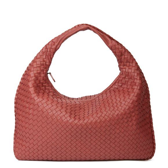 Bottega Veneta Burnt Red Woven Lambskin Medium Veneta Bag