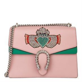 Gucci Pink & Green Calfskin Embellished Medium Dionysus