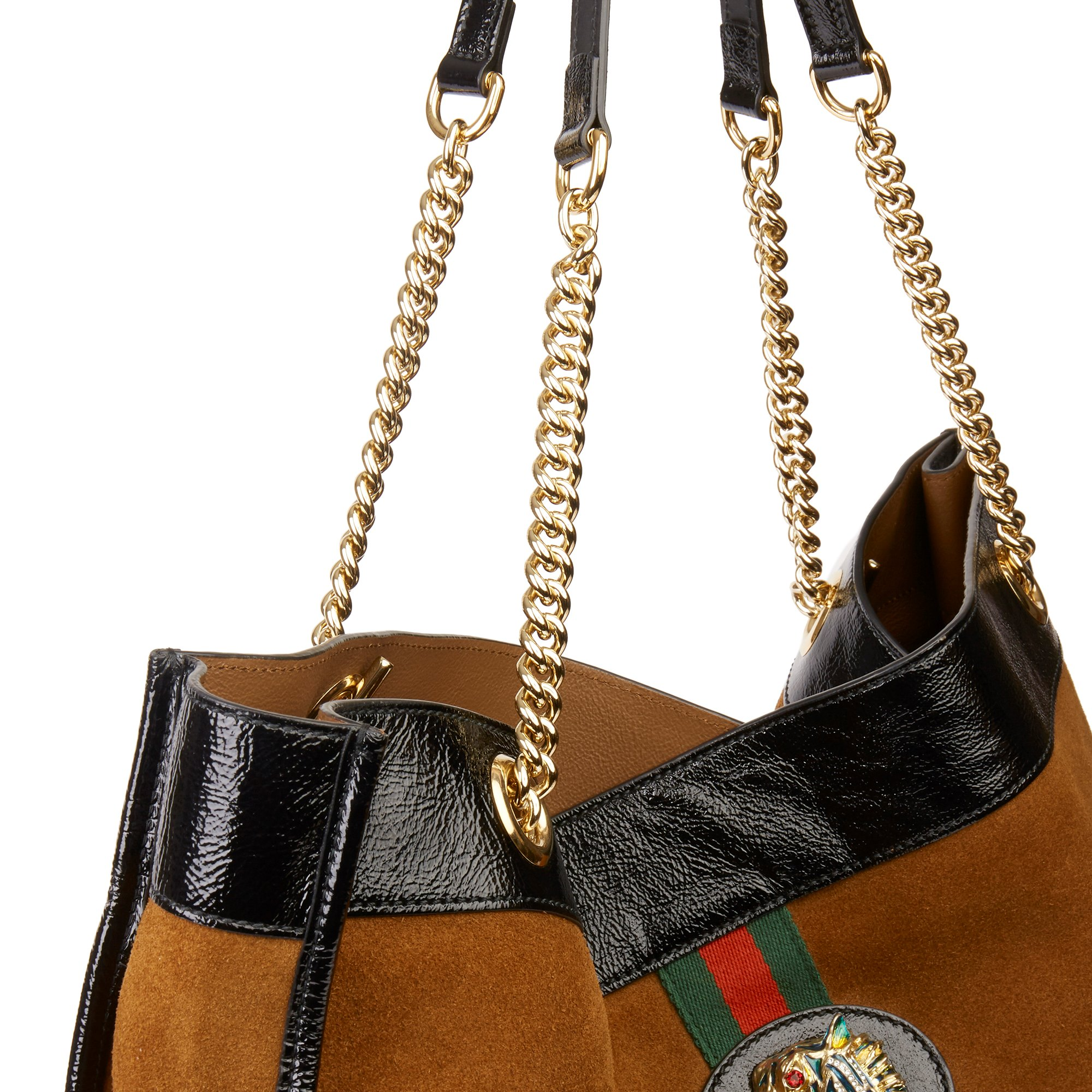 Gucci Brown Suede & Black Patent Leather Maxi Rajah Tote