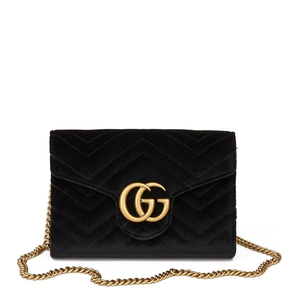 Gucci Black Chevron Quilted Velvet Mini Marmont