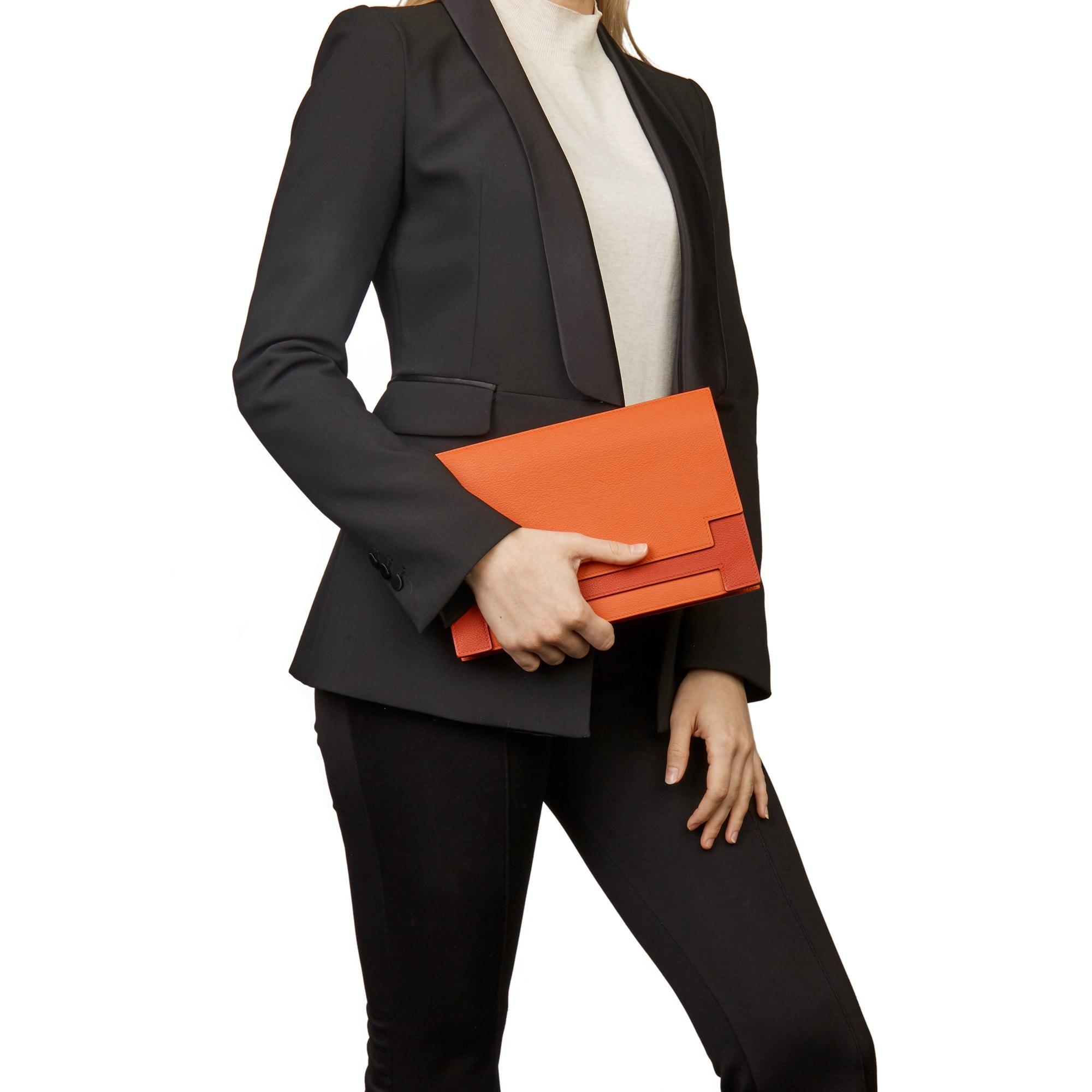 Hermès Rouge Tomate & Rouge Grenat Evercolour Leather Multiplis Clutch