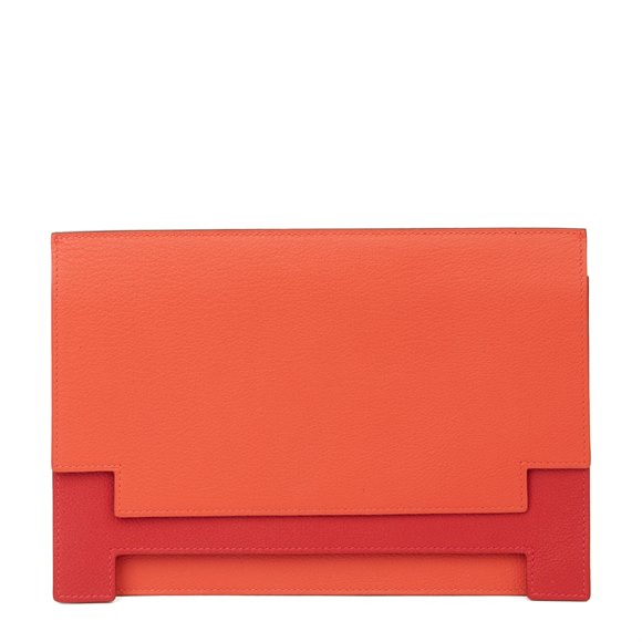 Hermès Rouge Tomate & Rouge Grenat Evercolour Leather Multiplis Clutch