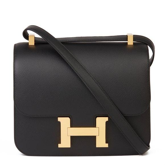 Hermès Black Epsom Leather Constance 24