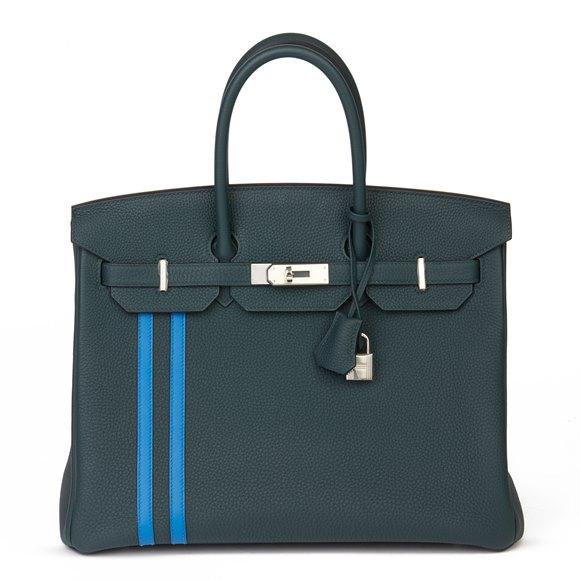 Hermès Vert Cypres Togo Leather & Bleu Zellige Swift Leather Officier Birkin 35cm