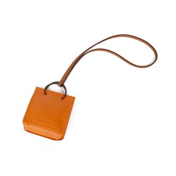 Hermès Orange Lambskin Leather Shopping Bag Charm