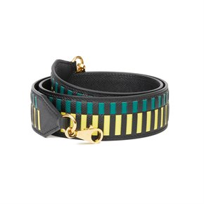 Hermès Black, Lime & Malachite Epsom Leather Tressage 40mm Bag Strap
