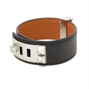 Hermès Black Epsom Leather Collier de Chien 24 T3