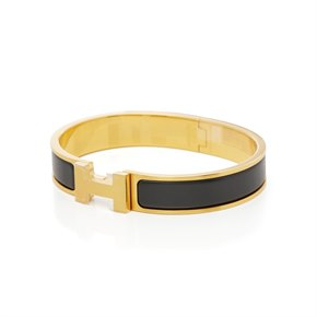 Hermès Brushed Gold & Black Matte Enamel Clic HH