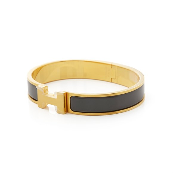 Hermès Brushed Gold & Etain Matte Enamel Clic HH