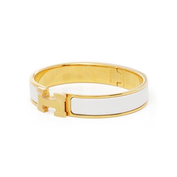 Hermès Gold & White Enamel Clic H