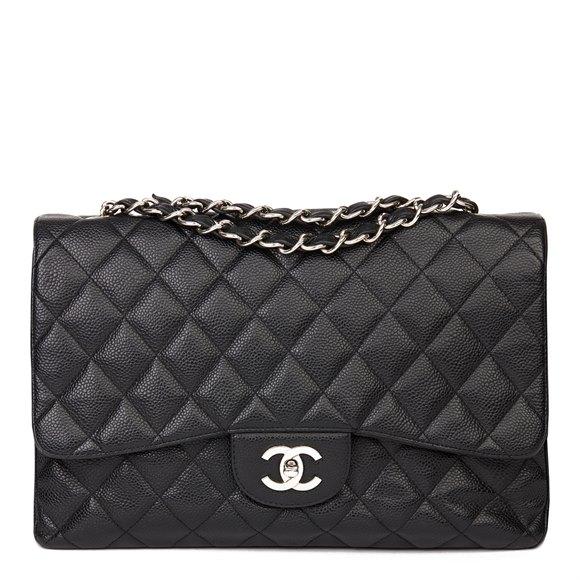Chanel Black Caviar Leather Jumbo Classic Single Flap Bag