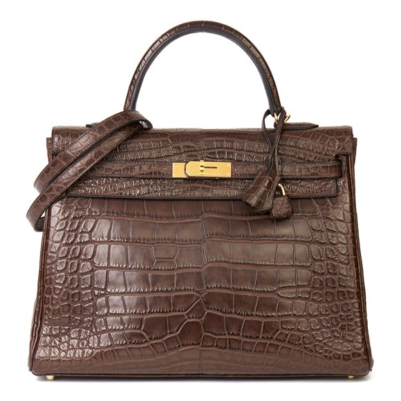 Hermès Chocolate Brown Matte Mississippiensis Alligator Leather Kelly 35cm