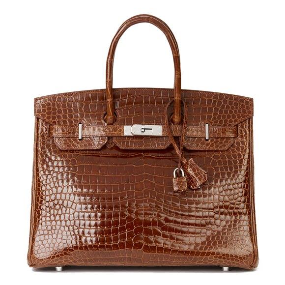 Hermès Miel Shiny Porosus Crocodile Leather Birkin 35cm
