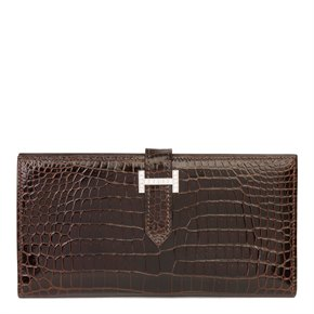 Hermès Havane Shiny Porosus Crocodile Leather Diamond Bearn Wallet