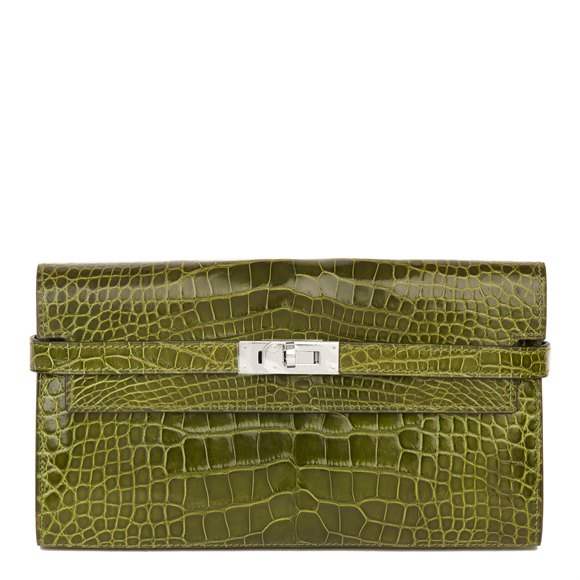 Hermès Vert Perlouse Shiny Mississippiensis Alligator Leather Kelly Long Wallet