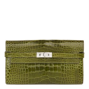 Hermès Vert Perlouse Shiny Mississippiensis Alligator Leather Kelly Long Wallet